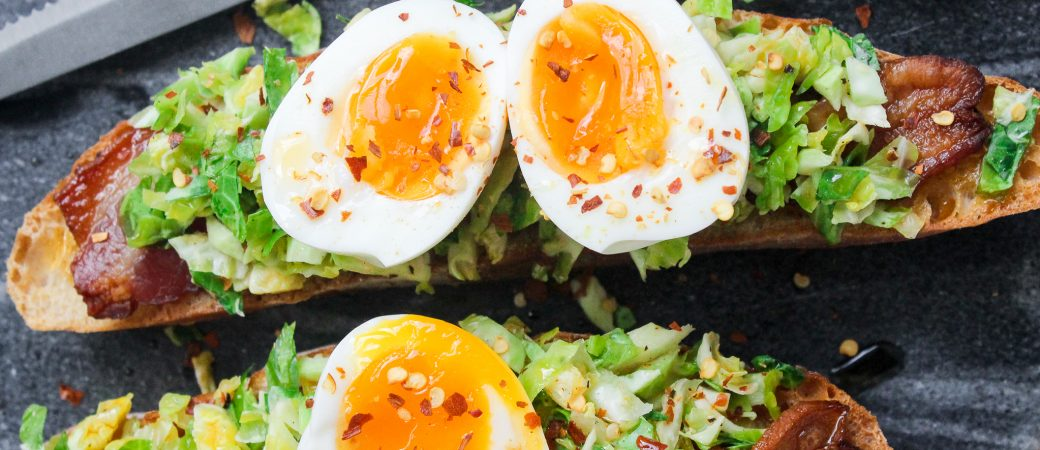 Shredded Brussels, Bacon, & Egg Toasts