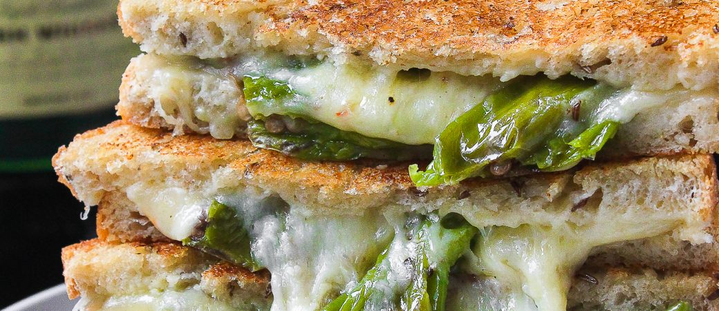 Smashed Shishito Pepper Grilled Cheese w/ Whiskey Aioli